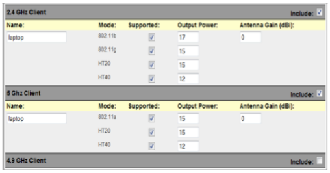 Client models describe the typical clients in an AP grouping. Client power can be defined by band and mode, and antenna gain can be defined by band.
